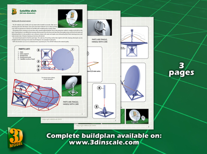 Satellite dish (60mm) double pack 3d printed Satellite dish 60 mm double pack - instruction sheet