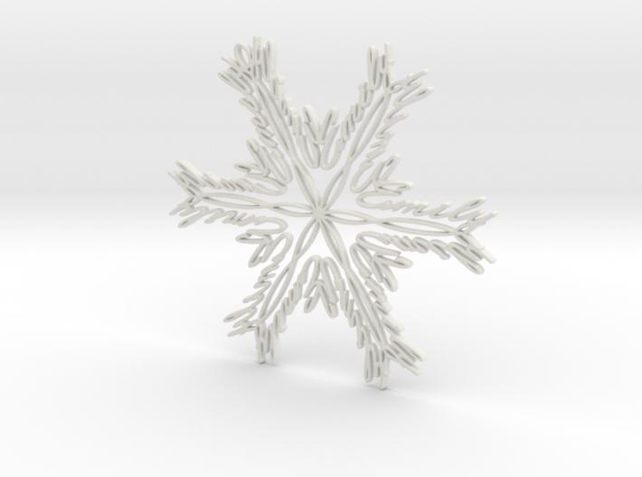 Emily snowflake ornament 3d printed