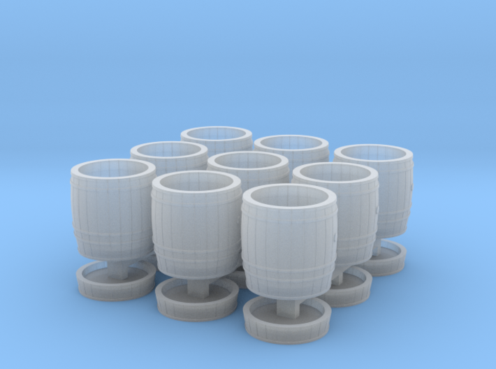 9 wooden barrels N scale 3d printed