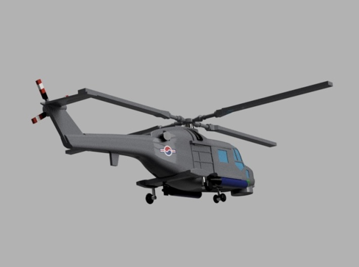 1/1800 Korean Navy aircraft set No.1 3d printed Super Lynx Mk.99.Computer software render.The actual model is not full color. Not exactly same for 1/1800 model.
