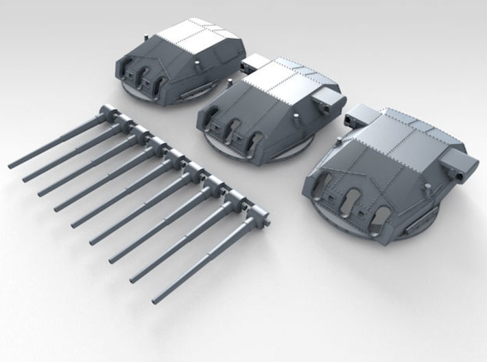 "1/192 DKM Scharnhorst Turrets 28cm (11"") 1943 3d printed Render showing set"