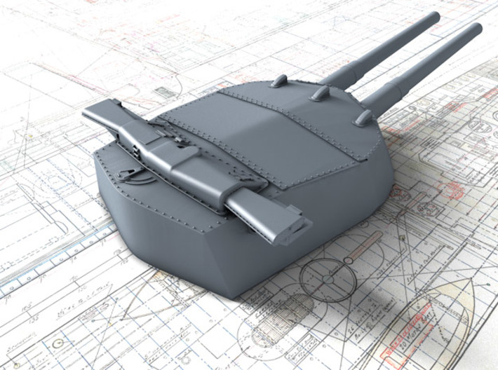"1/700 15"" MKI 'R' & Queen Elizabeth Class Guns x4 3d printed 3d render showing B Turret detail"