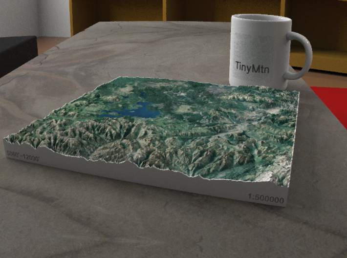 Yellowstone National Park, WY/MT/ID, 1:500000 3d printed