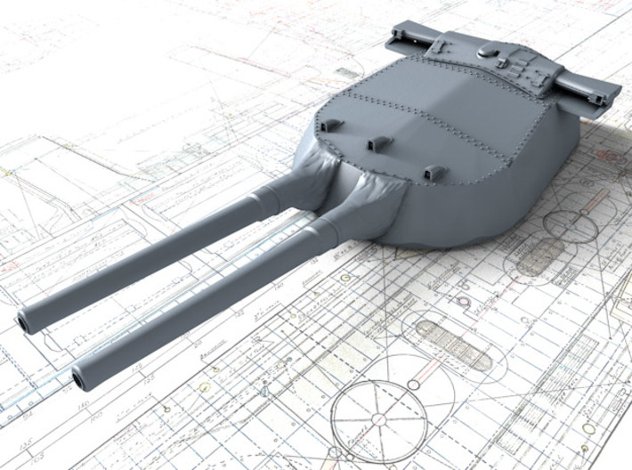 "1/600 15"" MKI QE Class Guns w. Blast Bags 1919 x4 3d printed 3d render showing B Turret detail"