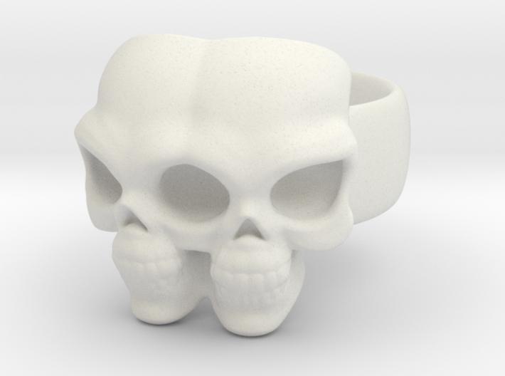 Skull Ring 'Gemini' 3d printed