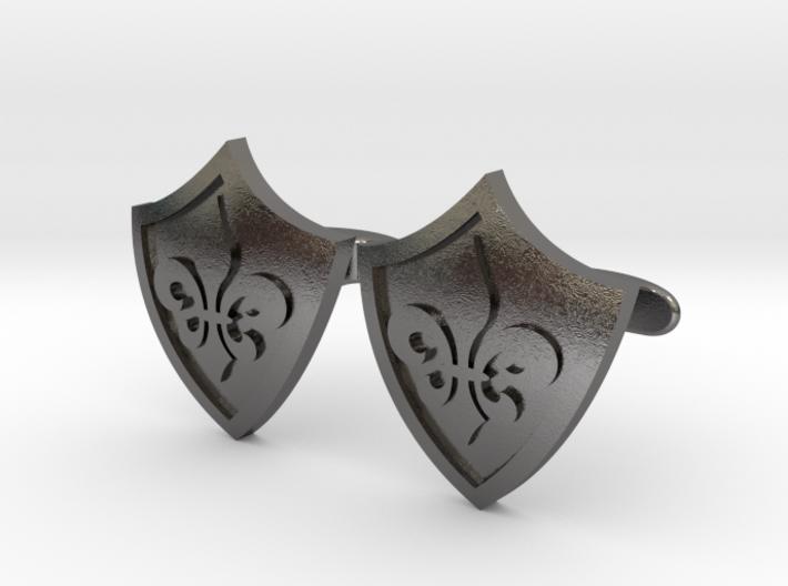 Fleur De Lis Shield Cufflinks 3d printed