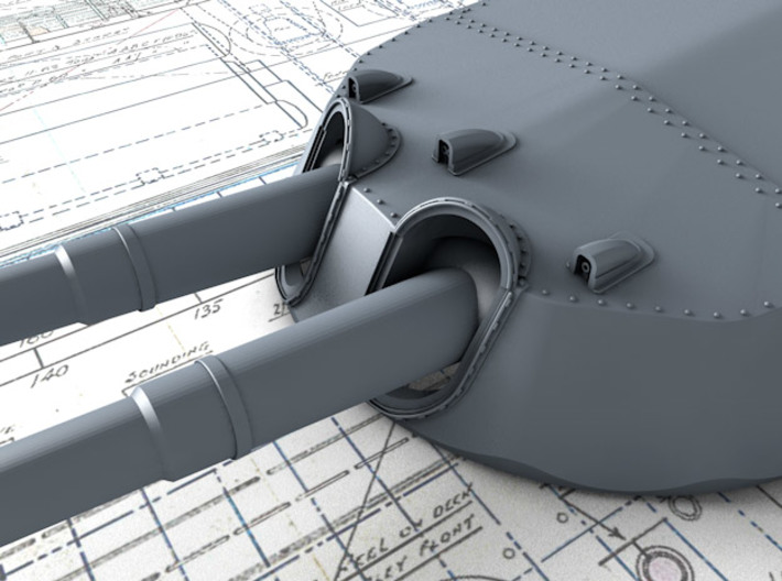 "1/600 15"" MKI* HMS Queen Elizabeth Guns 1943 x4 3d printed 3d render showing Turret face and 'Eyebrows'"