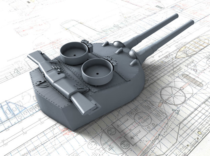 "1/700 15"" MKI* HMS Queen Elizabeth Guns 1943 BB 3d printed 3d render showing B Turret detail"