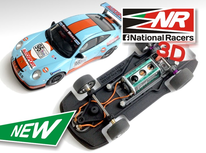 3D Chassis - Ninco Porsche 997 GT3 CUP (Combo) 3d printed Chassis compatible with NINCO model (slot car and other parts not included)