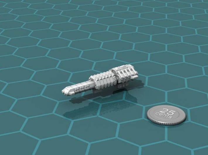 Eltanni Battleship 3d printed Render of the model, with a virtual quarter for scale.