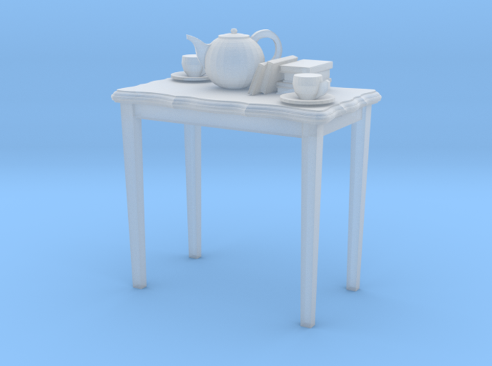 HO scale 26.5 in. height table with books & tea po 3d printed
