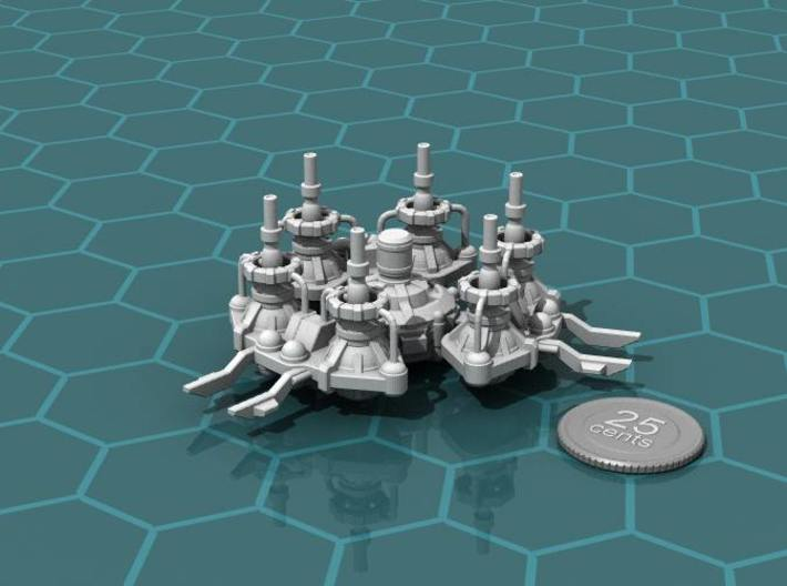 Refining Station 3d printed Render of the model, with a virtual quarter for scale.