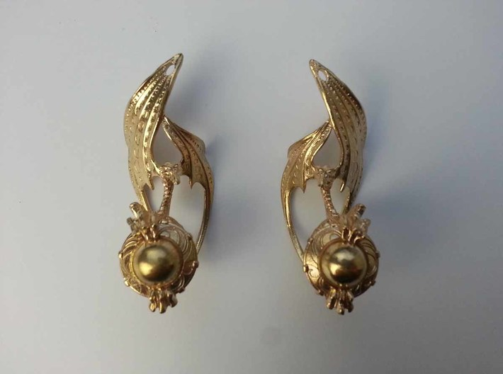 LUX DRACONIS earring pair   3d printed LUX DRACONIS dragon earrings, 3D printed in brass