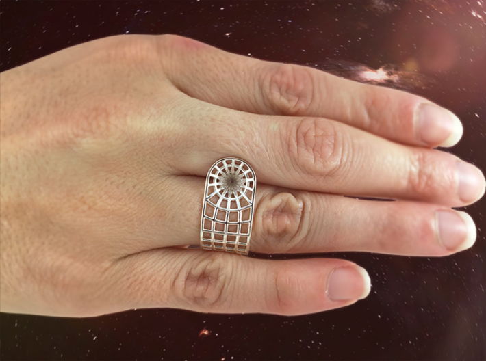 Wormhole Ring 3d printed Featured Image in Premium Silver
