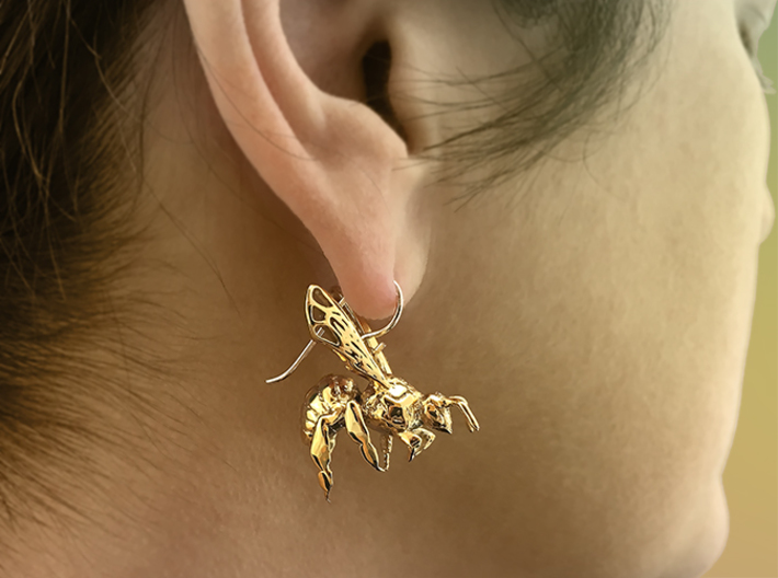 Western Honey Bee Earrings 3d printed Featured Image: 18K Gold Plated