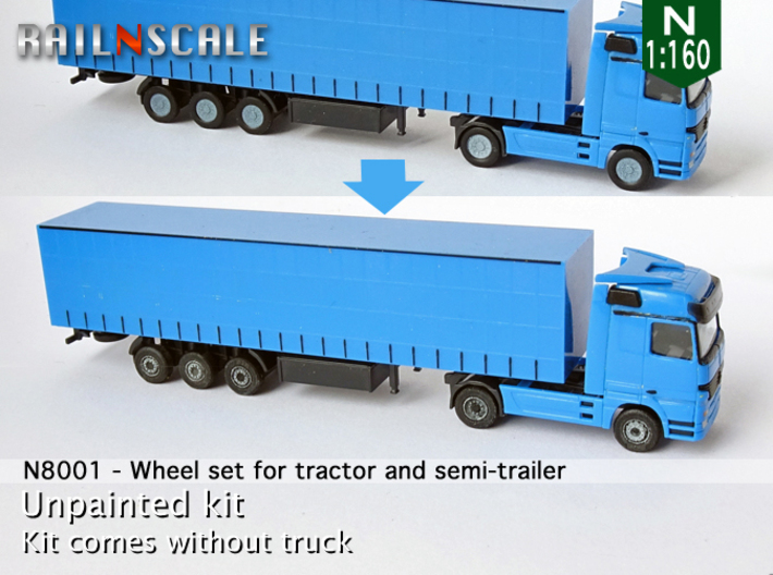 Wheel set for tractor and semi-trailer (N 1:160) 3d printed