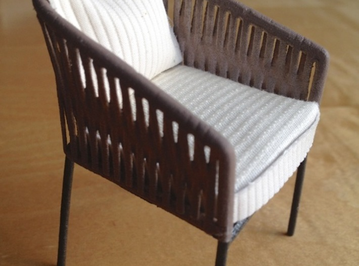 1:12 Chair Braided 3d printed finished home-made product, painted and with cushion