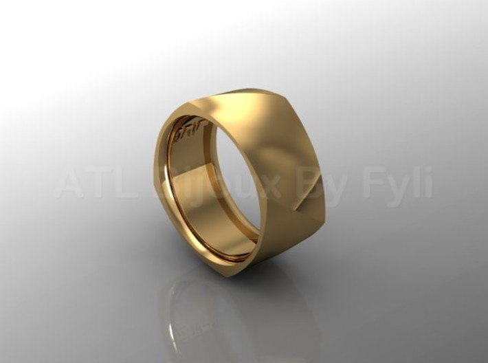 Band with Twisted Cushion Shape. 3d printed Wide band with twist - gold
