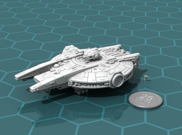 YT-2350 Military Transport 3d printed Render of the model, with a virtual quarter for scale.
