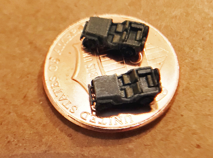 1:350 Scale Willys Jeeps (6x) 3d printed