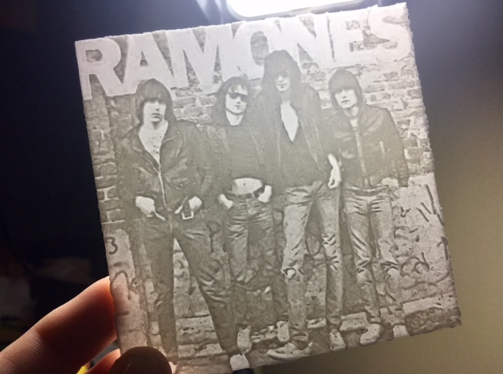 Ramones Lithophane 3d printed Lithophane when lit from behind