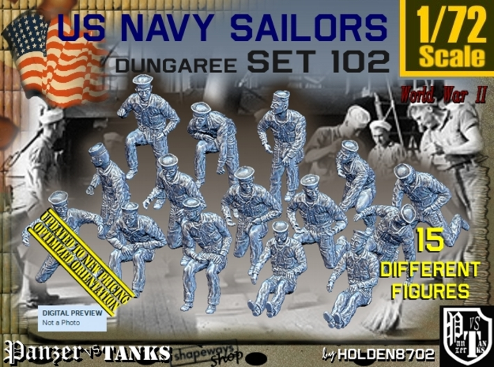 1/72 USN Dungaree Set102 3d printed