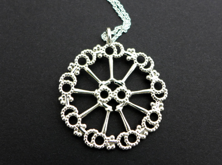 Axoneme Pendant - Science Jewelry 3d printed Axoneme pendant in polished silver