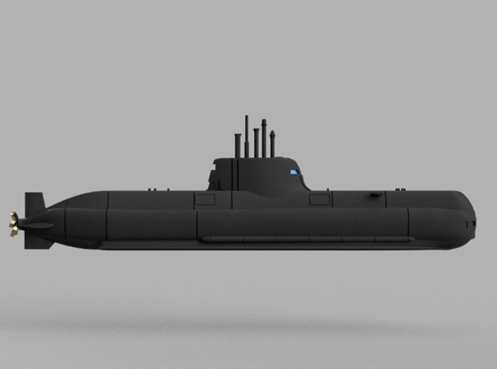 1/1250 Type 214 submarine 3d printed Computer software render.The actual model is not full color.