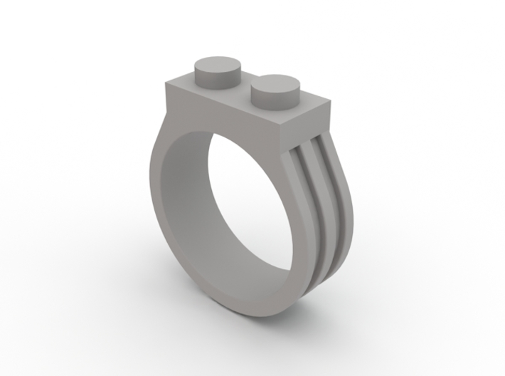 Brick Ring-2 Stud, Size 10 3d printed