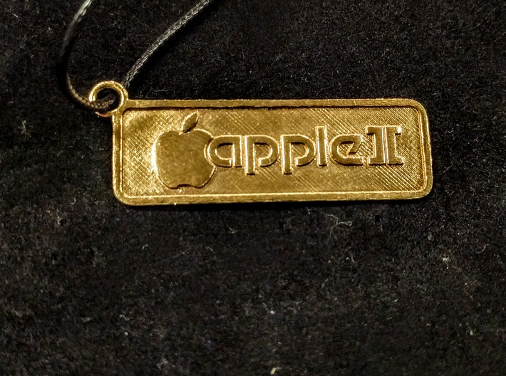 Apple II Badge Pendant 3d printed Shown in brass.