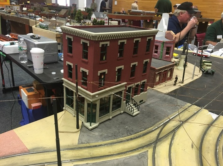 Philadelphia corner Store Front 3 stories O scale 3d printed