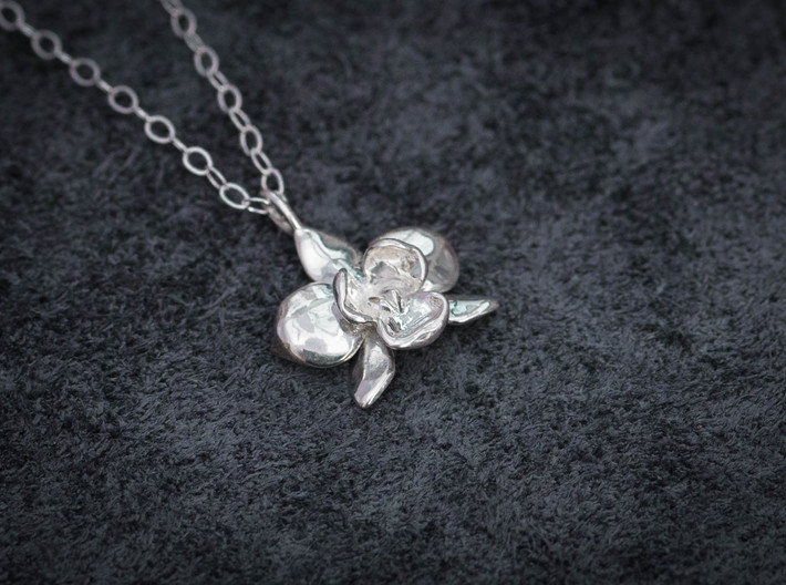 Petite Orchid Pendant 3d printed