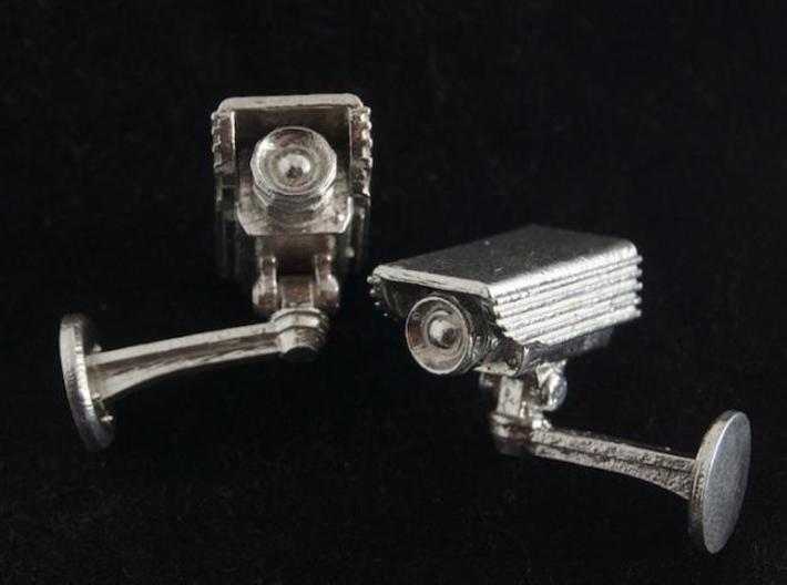CCTV surveillance camera cufflinks 3d printed Black background