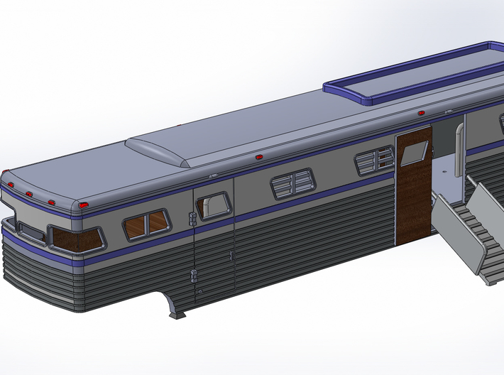 HO 1/87 Horsebox 1988 Streamliner 9 Horsebox 3d printed A CAD render showing a ramp fitted.