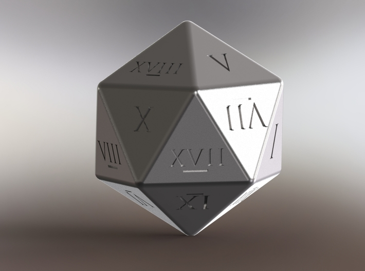 D20 - Roman Numerals 3d printed Stainless Steel Render in Solidworks