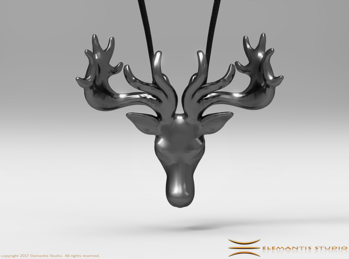 Faceted Reindeer Pendant  3d printed