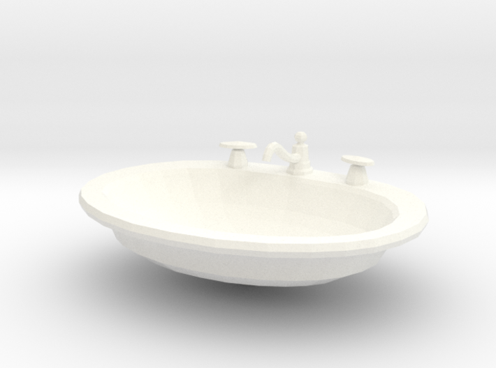 'Finer Fare' Drop-in Bathroom Sink 1:12 Dollhouse 3d printed
