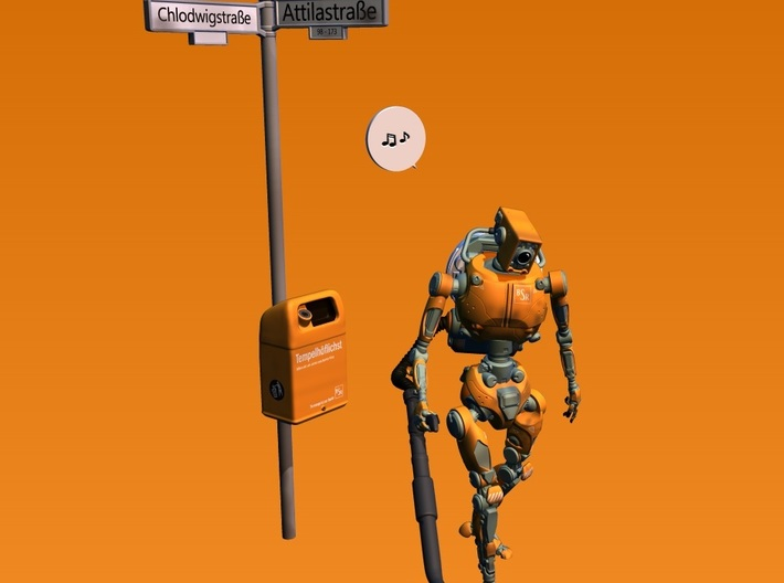 annoying robot 1:32 scale 3d printed traffic sign and speech bubble not included!