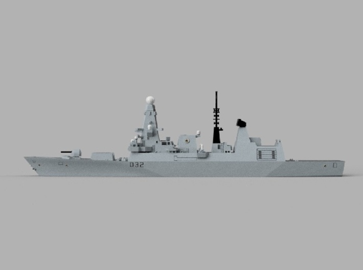 1/1250 HMS Daring 3d printed Computer software render.The actual model is not full color.