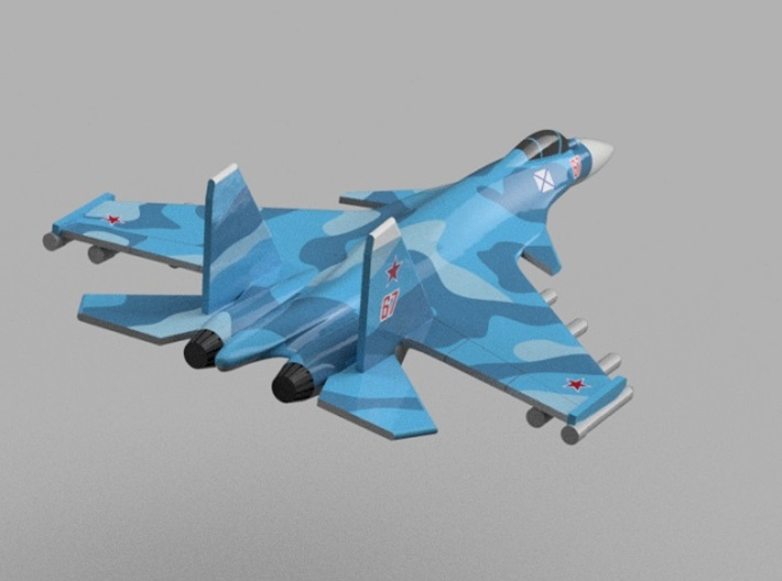 1/2000 Russian Navy aircraft set No.1 3d printed Su-33.Computer software render.The actual model is not full color. Not exactly same for 1/2000 model.