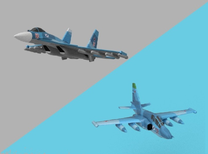 1/2000 Russian Navy aircraft set No.1 3d printed Computer software render.The actual model is not full color. Not exactly same for 1/2000 model