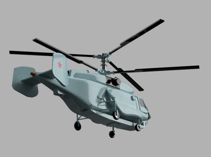 1/2000 Russian Navy aircraft set No.2 3d printed Kamov Ka-31.Computer software render.The actual model is not full color. Not exactly same for 1/2000 model.