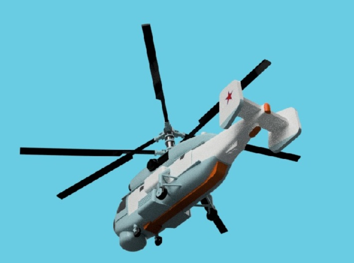1/1800 Russian Navy aircraft set No.2 3d printed Kamov Ka-27PS.Computer software render.The actual model is not full color. Not exactly same for 1/1800 model.