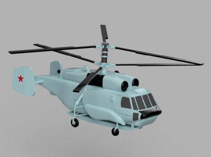 1/1800 Russian Navy aircraft set No.2 3d printed Kamov Ka-31.Computer software render.The actual model is not full color. Not exactly same for 1/1800 model.