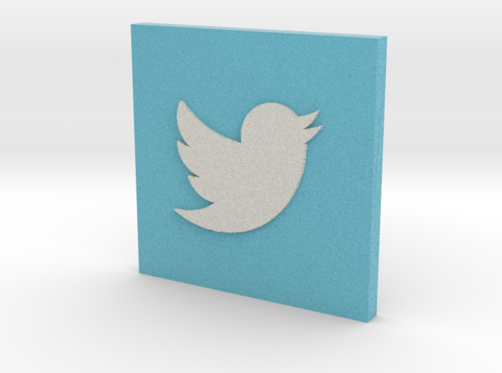 Twitter Logo on Square 3d printed