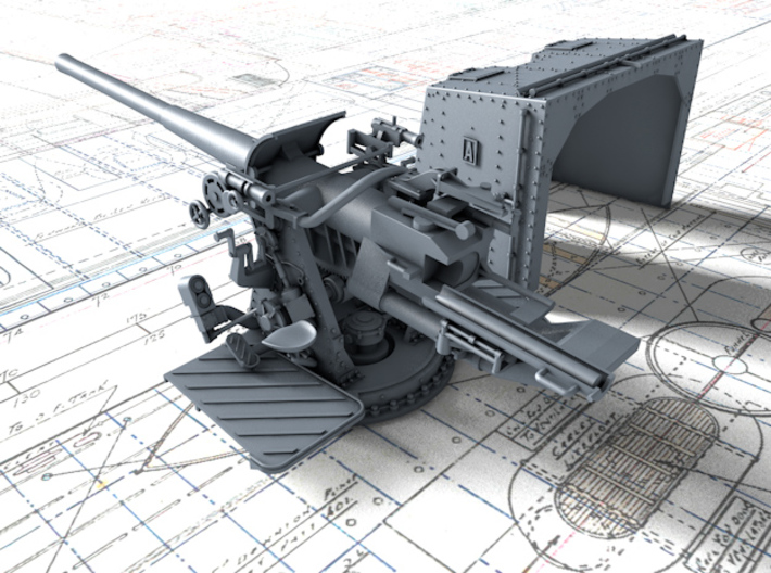 "1/128 4.7""/45 QF MK IX CPXVII Guns Ports Closed x4 3d printed 3d render showing product detail"