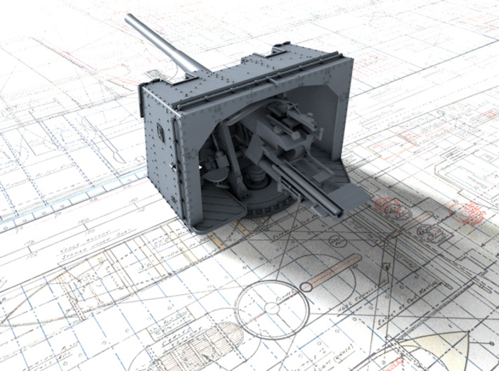 "1/200 4.7""/45 (12cm) QF Mark IX CPXVII Guns x4 3d printed 3d render showing product detail"