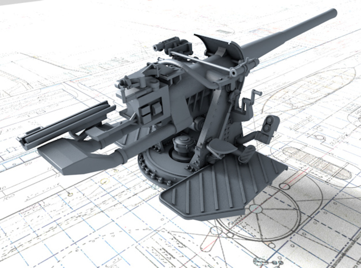 "1/72 4.7""/45 (12cm) QF Mark IX CPXVII Gun x1 3d printed 3d render showing product detail"