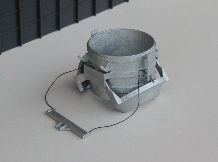 N-scale 16 ft Scrap Bucket 3d printed N-scale 16 ft Scrap Bucket assembled with bottom doors open.