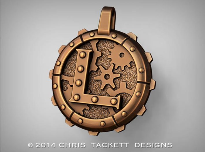 "Steampunk Monogram Pendant ""L"" 3d printed ZBrush Rendering approximating a bronze finish. Actual Bronze finish may look a bit different."